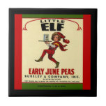 Vintage Veggie Can Little Elf June Peas Label Tile