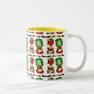 Vintage Veggie People Two-Tone Coffee Mug