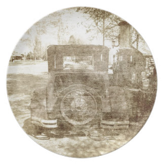 Vintage vehicle stopping for gas plate