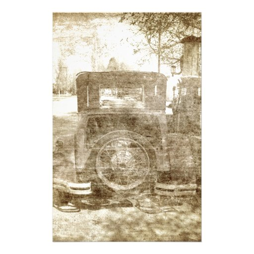 Vintage vehicle stopping for gas stationery