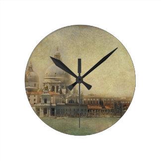 Vintage Venecia, iglesia del saludo del della de Reloj Redondo Mediano