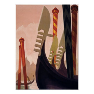 Vintage Venezia Gondolas Art Poster