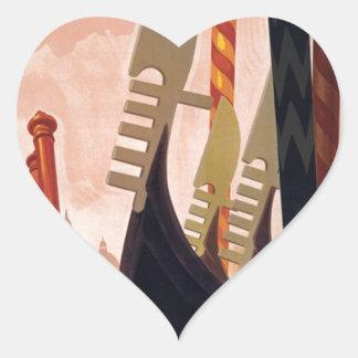 Vintage Venezia Gondolas Heart Sticker