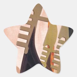 Vintage Venezia Gondolas Star Sticker
