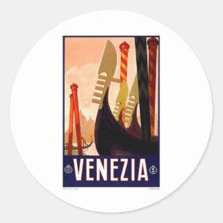Vintage Venezia Pegatina Redonda