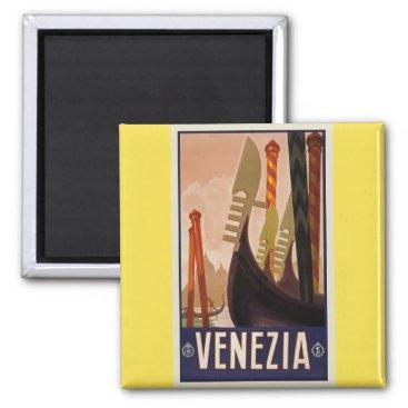 loscrazyavocados Vintage Venezia Venice Boats Poster Magnet