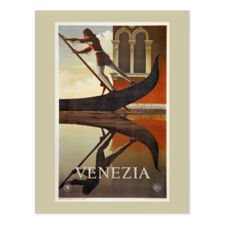 Vintage Venice Italian travel poster gondola Postcard