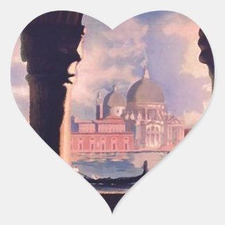 Vintage Venice Italy Travel Heart Sticker