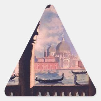 Vintage Venice Italy Travel Triangle Sticker
