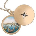 Vintage Venice, regatta Round Locket Necklace