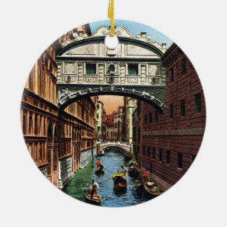 Vintage Venice, the Bridge of Sighs Double-Sided Ceramic Round Christmas Ornament