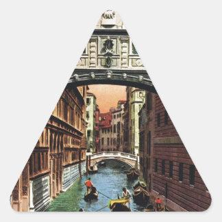 Vintage Venice, the Bridge of Sighs Triangle Sticker