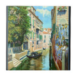 Vintage Venice Travel Poster Small Square Tile