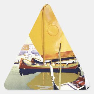 Vintage Venice Travel Poster Triangle Sticker