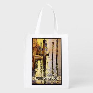 """Vintage """"Venise et le Lido"""" Italy reusable bag Reusable Grocery Bag"""