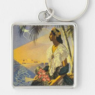 Vintage Veracruz Silver-Colored Square Keychain