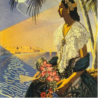 Vintage Veracruz Mexico Travel Poster Statuette