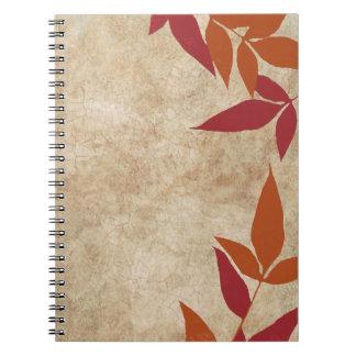 Vintage verde de las hojas de otoño note book