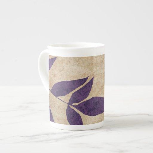 Vintage verde de las hojas de otoño taza de porcelana