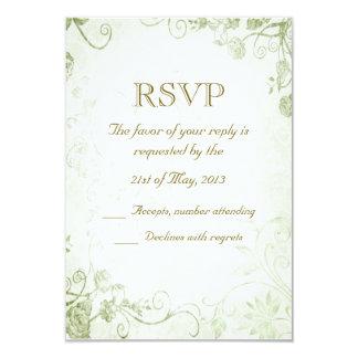 Vintage verde elegante que casa la tarjeta de RSVP Invitación 8,9 X 12,7 Cm