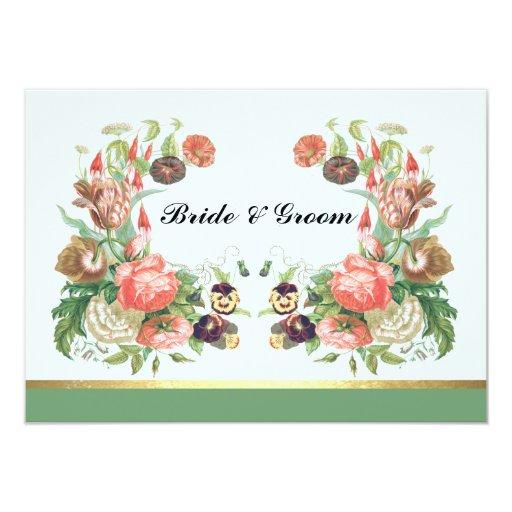 Vintage verde floral de la invitación del boda del