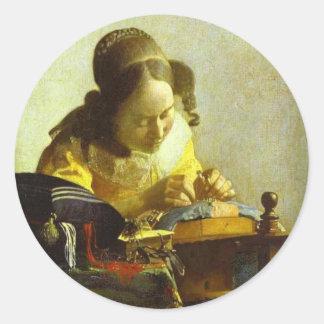 Vintage Vermeer la etiqueta engomada redonda de