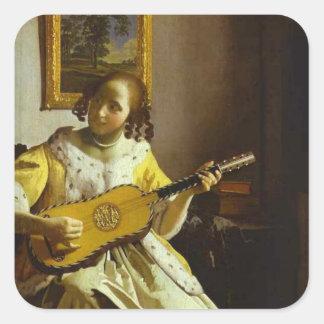 Vintage Vermeer The Guitar Player Sticker