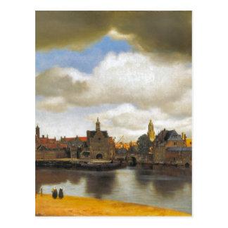 Vintage Vermeer, vista de Delft Tarjeta Postal