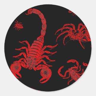 Vintage Vermin Scorpion Spider Flea Red Classic Round Sticker