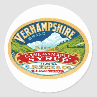 Vintage Vernhampshire Cane and Maple Syrup Label Classic Round Sticker