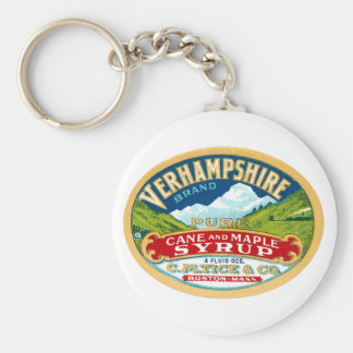 Vintage Vernhampshire Cane and Maple Syrup Label Keychain