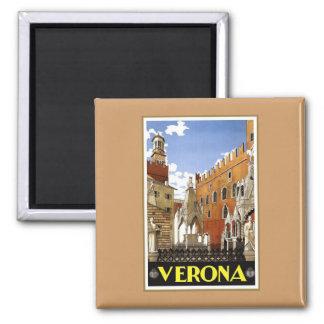 Vintage Verona Italia Imán Cuadrado