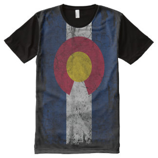 Vintage Vertical Distressed State Flag of Colorado All-Over-Print T-Shirt