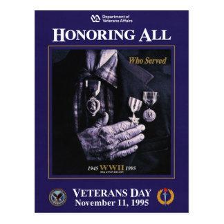 Vintage Veterans day, 1995 - Postcard
