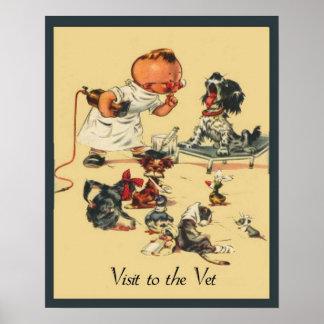 Vintage Veterinarian Visit to the Vet Pet Poster
