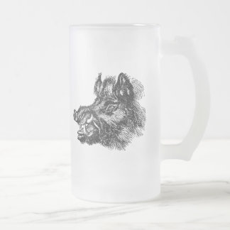 Vintage Vicious Wild Boar w Tusks Template 16 Oz Frosted Glass Beer Mug