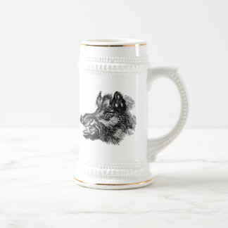 Vintage Vicious Wild Boar w Tusks Template 18 Oz Beer Stein