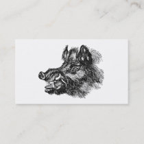 Vintage Vicious Wild Boar w Tusks Template Business Card