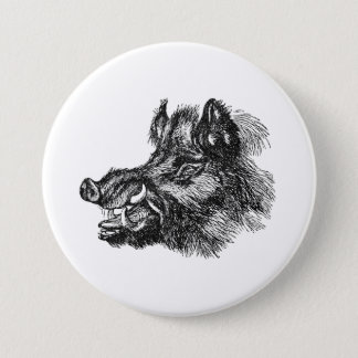 Vintage Vicious Wild Boar w Tusks Template Button