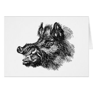 Vintage Vicious Wild Boar w Tusks Template Card
