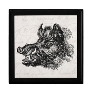Vintage Vicious Wild Boar w Tusks Template Gift Boxes