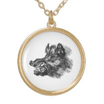 Vintage Vicious Wild Boar w Tusks Template Gold Plated Necklace