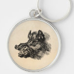 Vintage Vicious Wild Boar w Tusks Template Key Chain