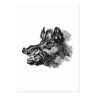 Vintage Vicious Wild Boar w Tusks Template Large Business Card