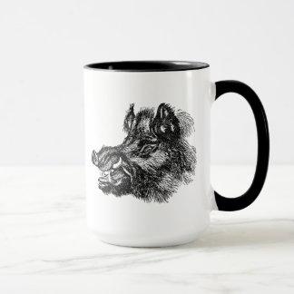 Vintage Vicious Wild Boar w Tusks Template Mug