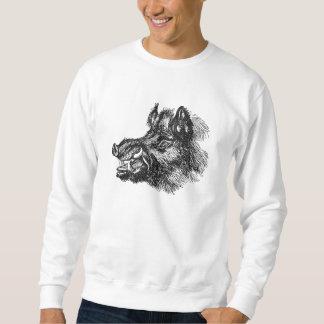 Vintage Vicious Wild Boar w Tusks Template Pullover Sweatshirt