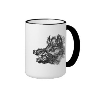 Vintage Vicious Wild Boar w Tusks Template Ringer Coffee Mug