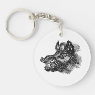 Vintage Vicious Wild Boar w Tusks Template Single-Sided Round Acrylic Keychain