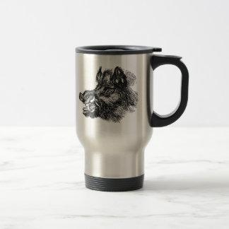 Vintage Vicious Wild Boar w Tusks Template Travel Mug