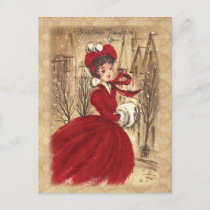 Vintage Victorian A Christmas Thought of You Holiday Postcard